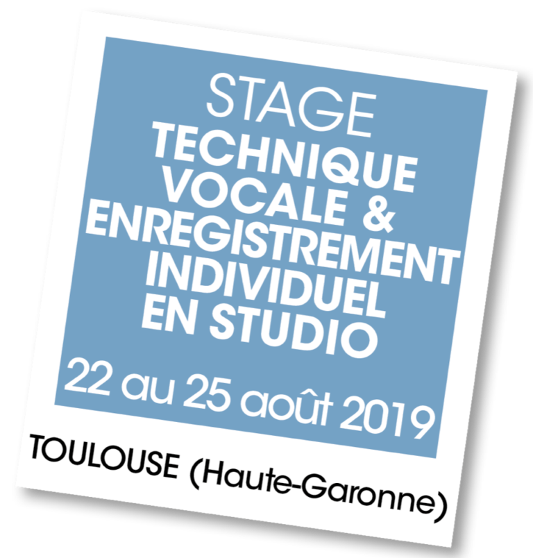 Stage enregistrement studio 2019